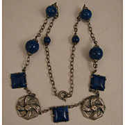 "1920s Vintage Silver Plate Czech Glass Faux Lapis 16.5"" Necklace"