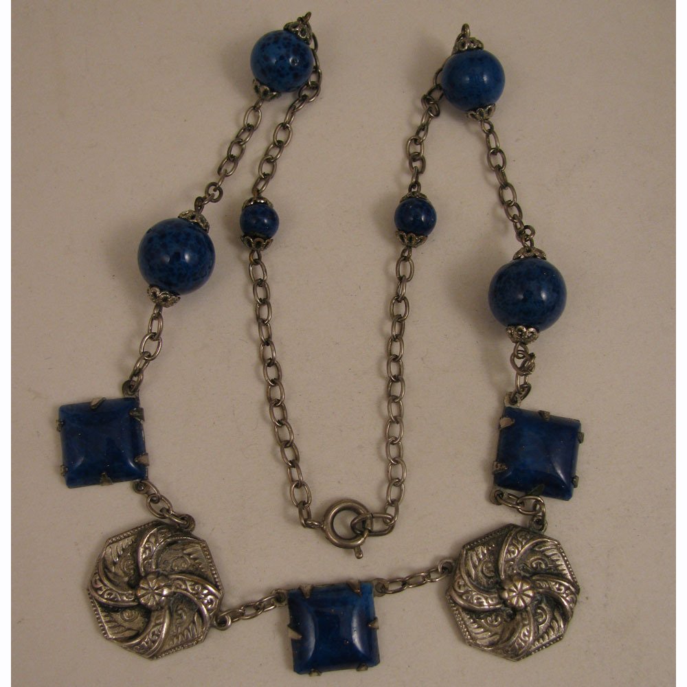1920s Vintage Silver Plate Czech Glass Faux Lapis 16.5 inch Necklace