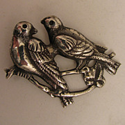 Antique Sterling Silver Love Birds Brooch