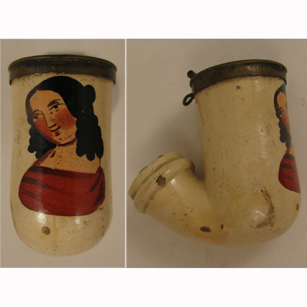 Victorian c.1840s -50s Clay Pipe with Lady in Red