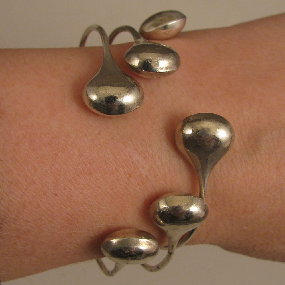 Set of 3 Vintage Sterling Silver Bangle Bracelets with Tear Drop Ends