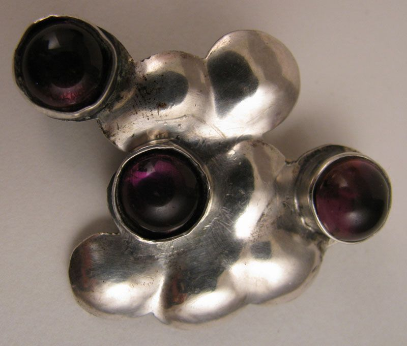 Vintage Mid Century Modern Abstract Sterling Silver Amethyst Brooch
