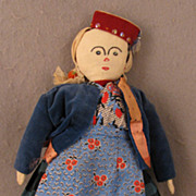 12 inch 1940s Vintage Hand Made Turkomen Girl Cloth Doll
