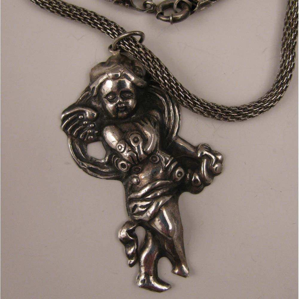 1940s Sterling Silver Cupid Pendant Necklace
