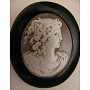 Victorian Carved Shell Cameo Goddess Flora in Whitby Jet Mourning Brooch