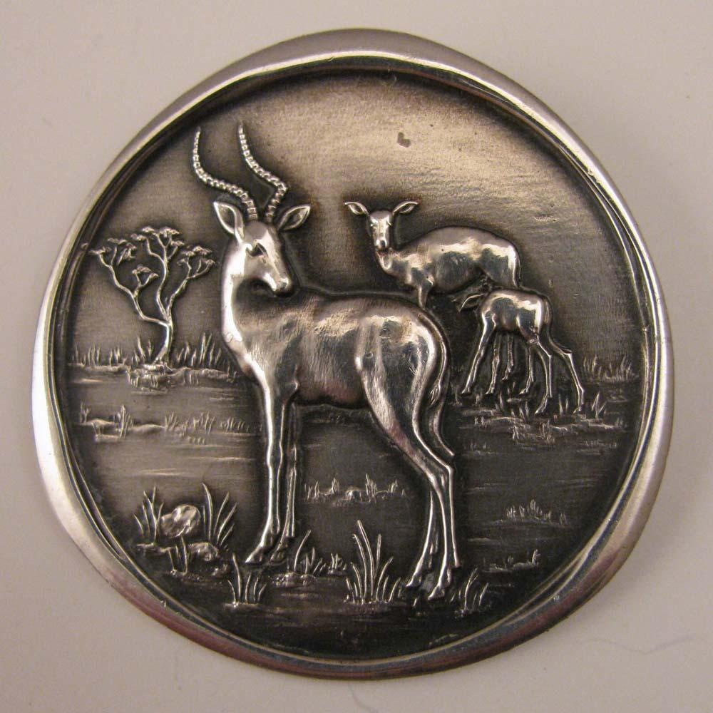 Vintage African Antelope Impala Deer Buck Sterling Silver Brooch