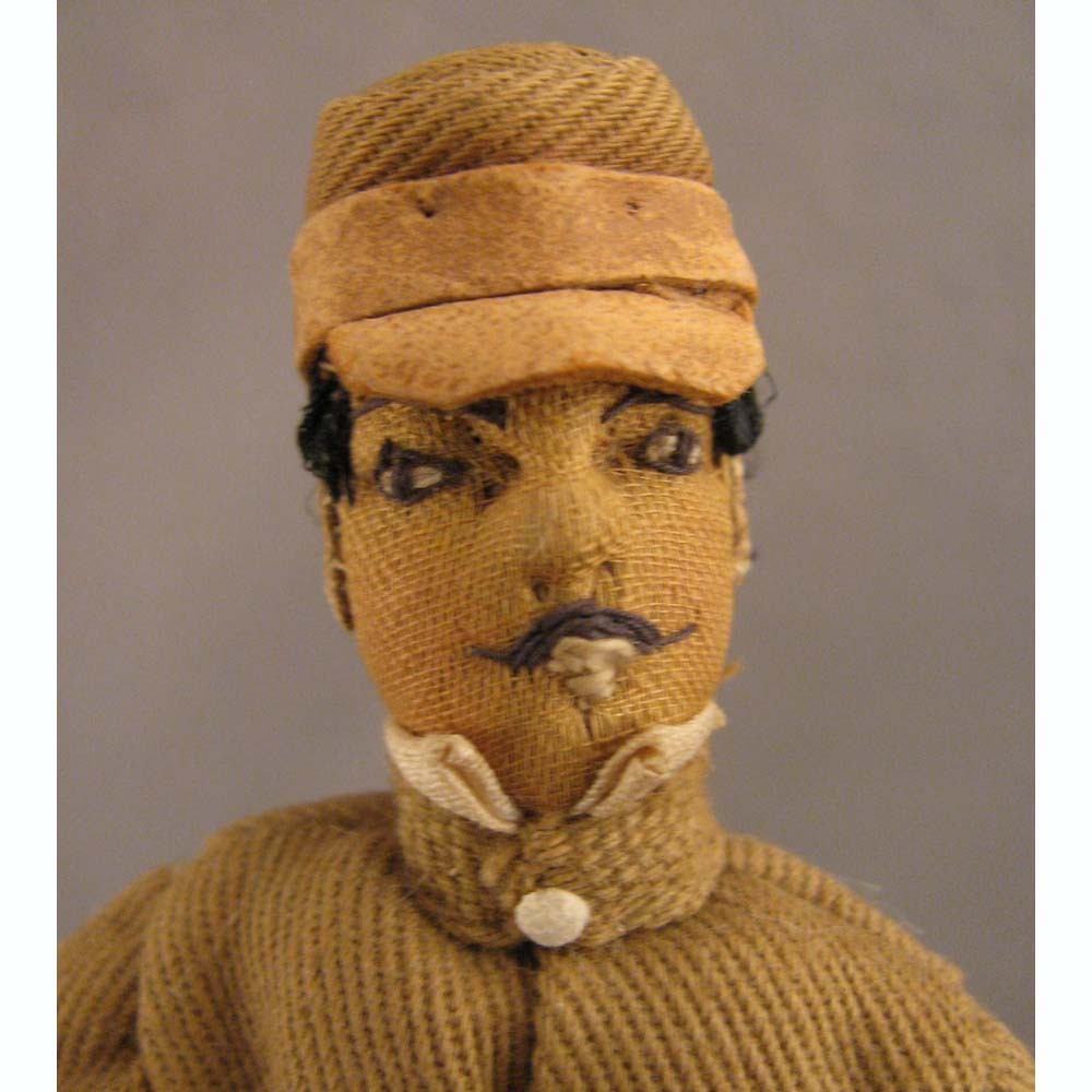 "Doll House Size 6"" Antique Cloth Soldier Doll in Tan Uniform"