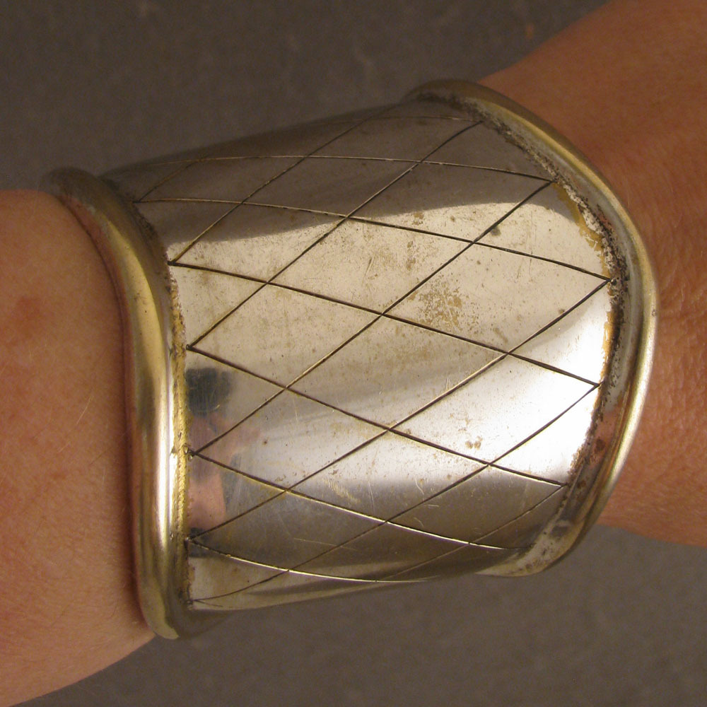 Vintage Wide Silver Plated Cuff Bracelet