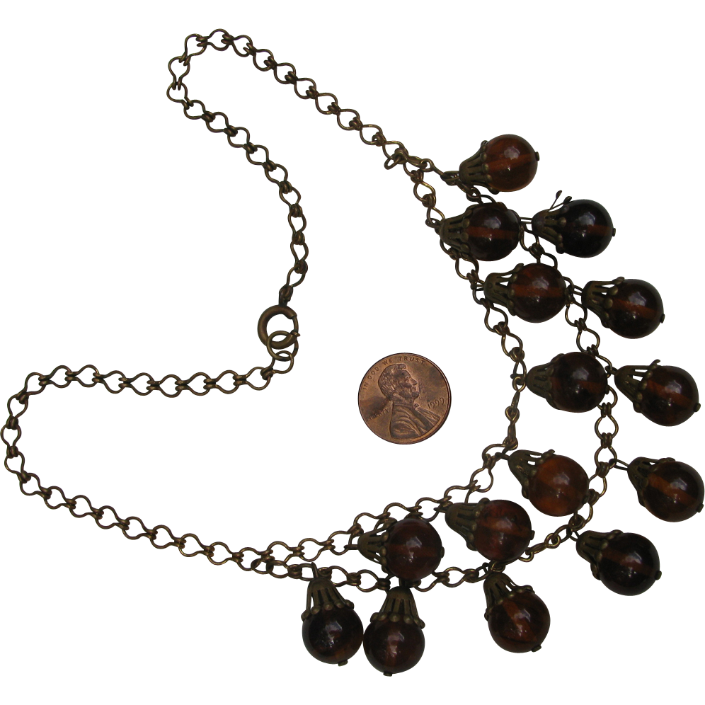 Vintage Amber Lucite Drops Swag Necklace