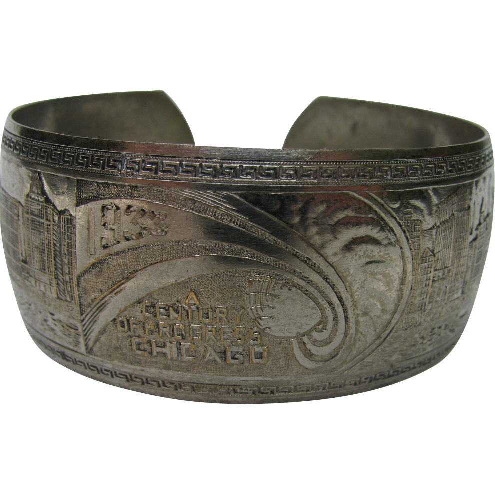 1933 Chicago World's Fair Bracelet Cuff