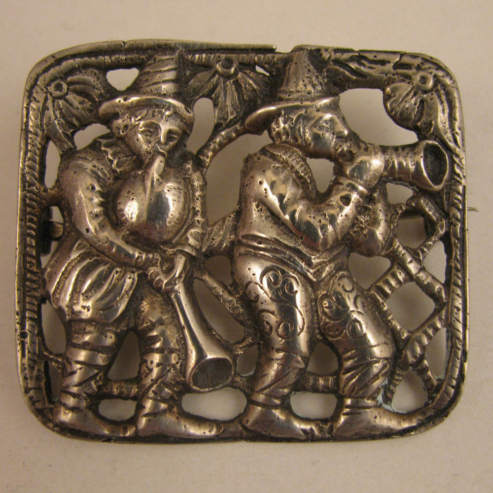 Antique 800 Silver Brooch w/ Medieval Musicians Bagpipe & Horn
