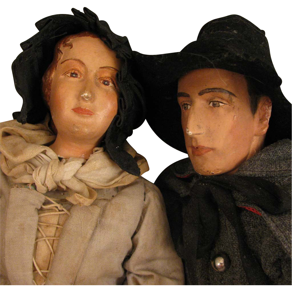 Pair of WPA Quaker and Pilgrim Doll Figures from Connecticut