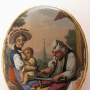 Georgian 15K Enameled Brooch w/ Scene of Black Smith & Mother Nursing Child