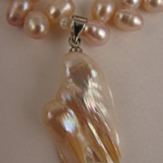 15 inch Pale Mauve Pink Fresh Water Pearl Necklace with Baroque Pearl Drop