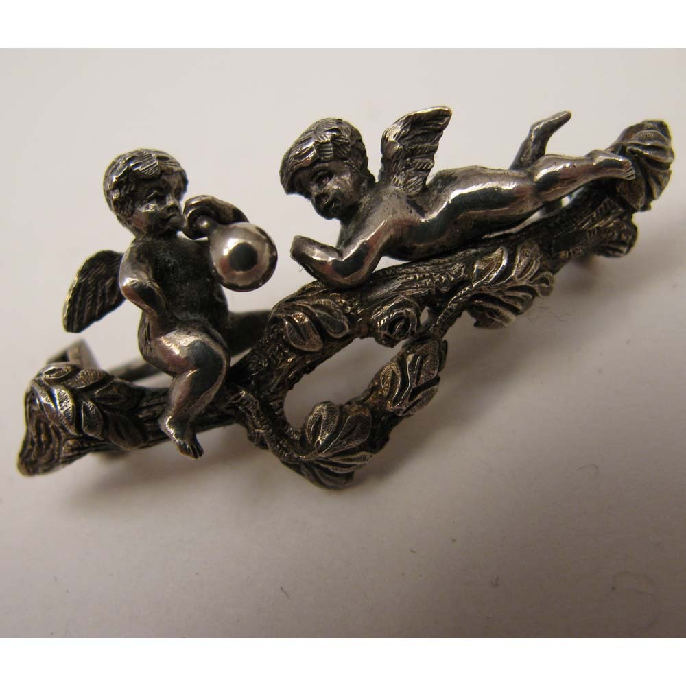 Antique 800 Silver Pair of Putti Blowing Bubble Brooch