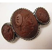 Antique Victorian 800 Silver Triple Cameo Warriors Brooch