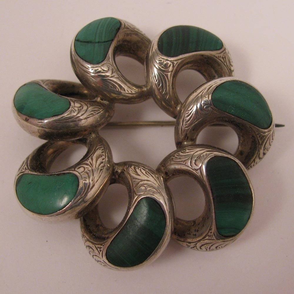Antique Victorian Scottish Malachite Sterling Silver Brooch