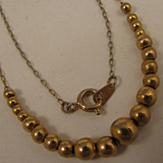 15 inch Vintage Gold Filled Bead Necklace