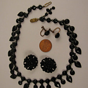 Victorian Gothic Mourning Black Choker Necklace and Earrings Set