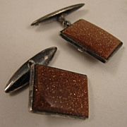 Early 1900s Sterling Silver Aventurine Goldstone Cufflinks