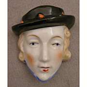Art Deco Flapper Lady Head China Match Wall Pocket