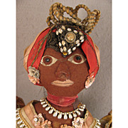 Vintage Felt Ethnic Caribbean Black Folk Art Doll in Traditional Costume