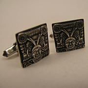 Vintage Sterling Silver Aztec God Cufflinks