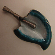 Vintage Sterling Silver Enameled Calla Lily Flower Brooch