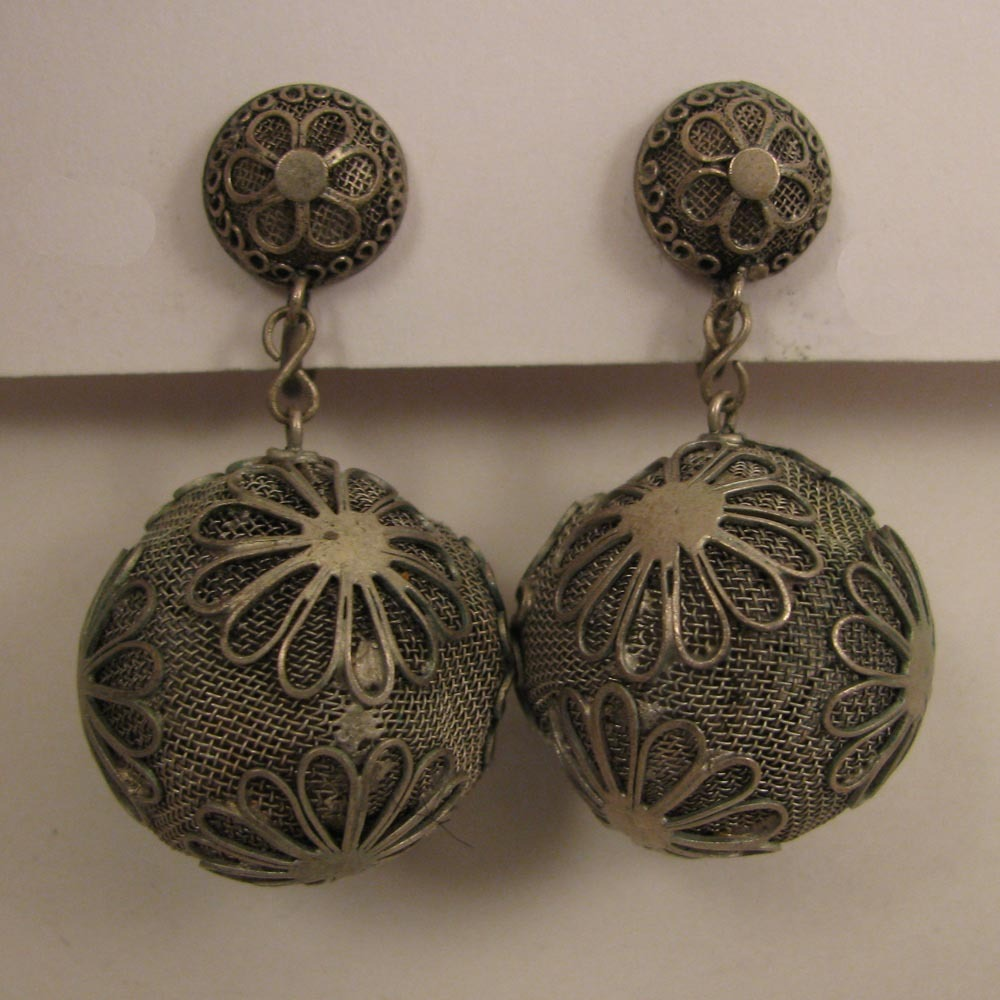 Early 1900s SP Filigree Ball Drop Earrings