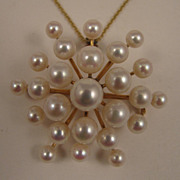 Vintage 14K Cultured Pearl Galaxy Brooch Pendant and Necklace Chain