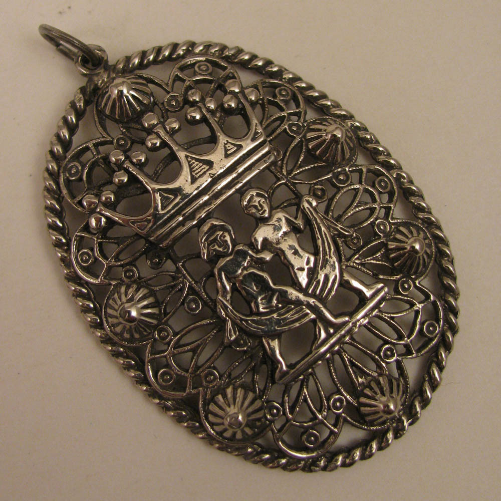 Antique Silver Plate Pendant w/ Crown & 2 Nude Figures
