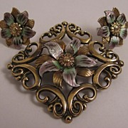 W. E. Richards Symmetalic Sterling Silver Vermeil Enameled Brooch & Earrings Parure Set