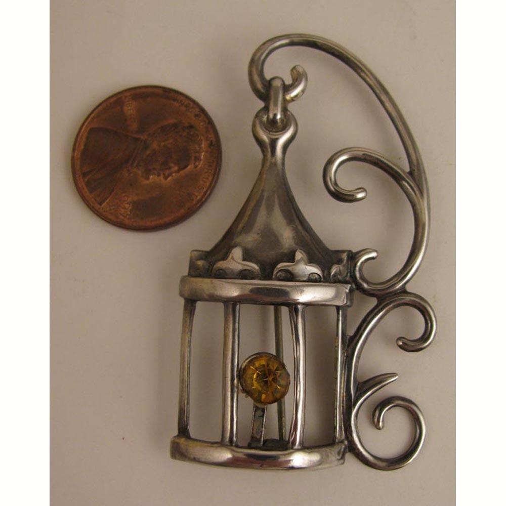 Vintage Lang Sterling Silver Bird Cage Brooch