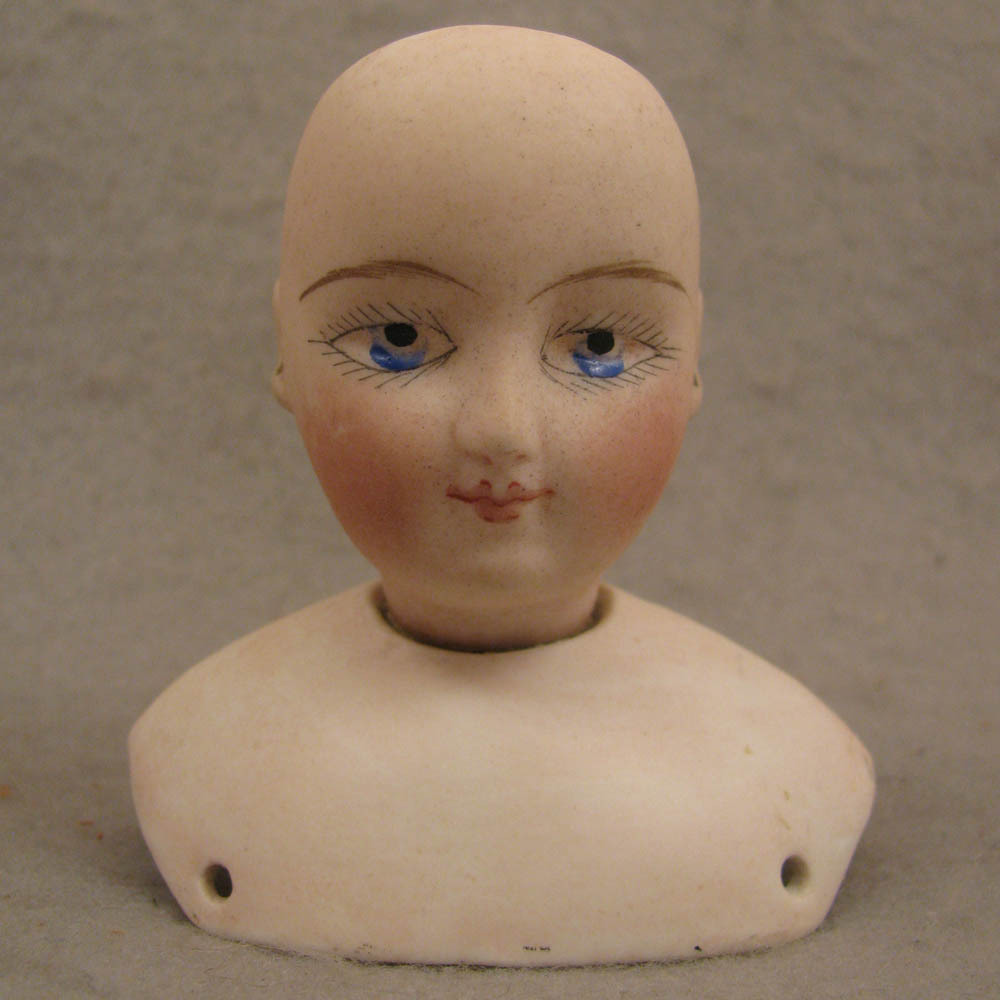 Antique FG French Fashion Painted Eye Doll Head + Shoulder Plate