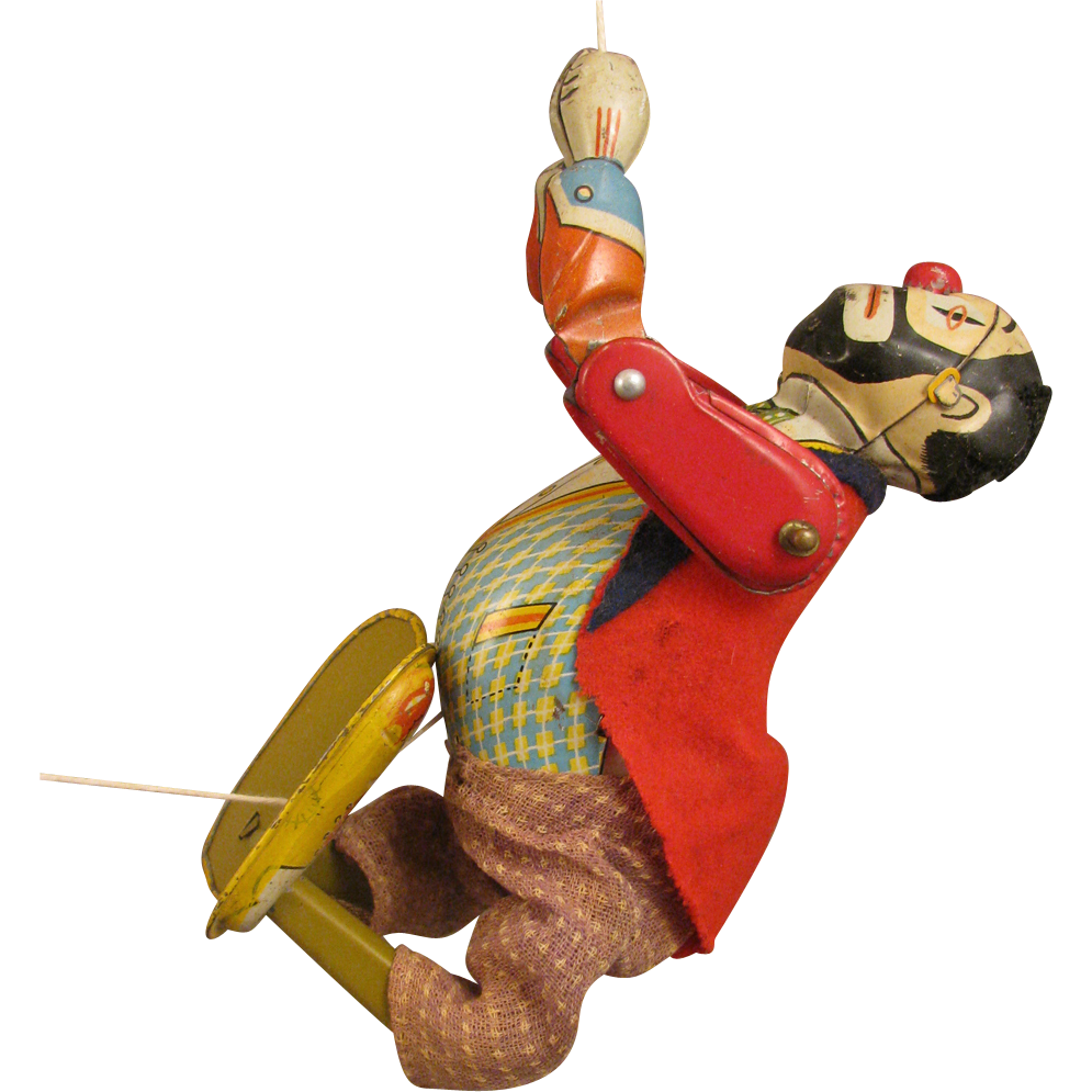 Vintage Tin Mechanical Toy Climbo the Climbing Clown