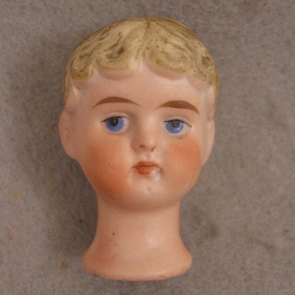 Antique German Bisque Flange Neck Doll Head for Automaton