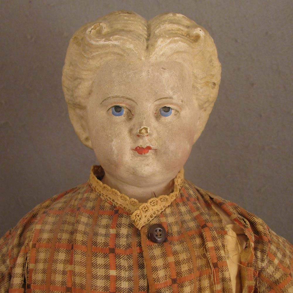 "Antique 1872 Greiner 20"" Blond Papier Mache Doll - All Original"