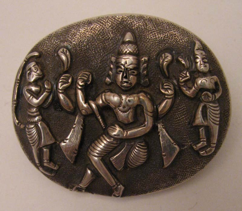Sterling Silver c.1860s British Raj India Shiva Locket Brooch