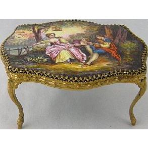Antique VIENNESE ENAMEL Miniature Table Woman w/ Lamb