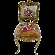 Antique  VIENNESE ENAMEL Miniature Louis XV  Side Chair