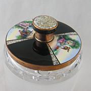 Rare Antique Enamel Pictorial   w/ EGGSHELL Crystal Box