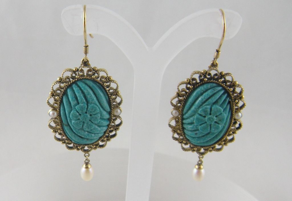 Antique Gold CARVED TURQUOISE Flower w Pearls Earrings