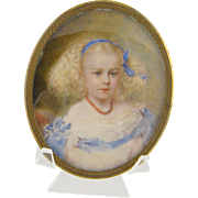 Antique 1867  French Miniature Portrait  Young  Blond Girl w CORAL NECKLACE