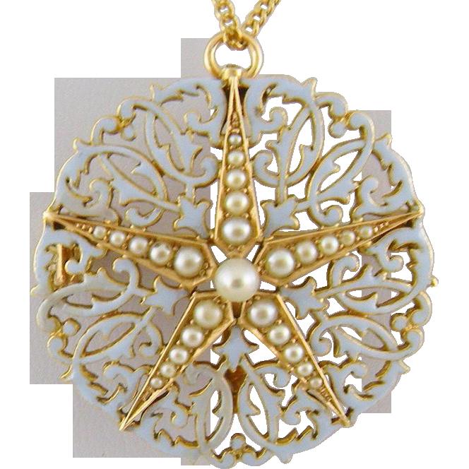 Antique 15 Kt Gold Light Blue Enamel Seed Pearls  STAR FISH Pendant