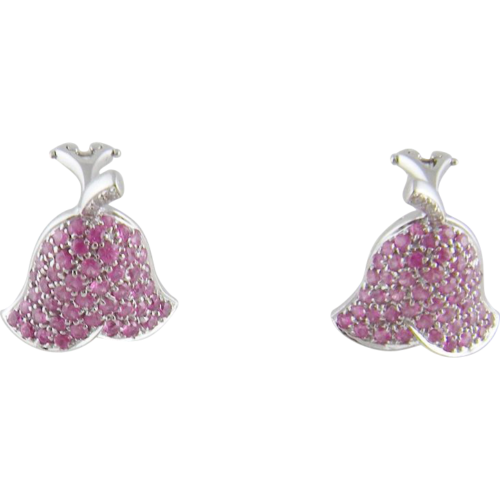 Modern 18 Kt White Gold  PINK SAPPHIRES Diamonds Bell Flowers Earrings