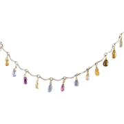 Vintage 14 Kt White Gold GEM STONES Briolette Pear Shape Necklace