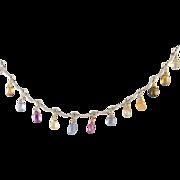 Vintage 14 Kt White Gold GEM STONES Briolette Pear Shape Necklace