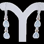 Vintage 14 Kt GOLD AQUAMARINE Diamonds Drop Earrings