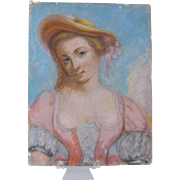 1800's French Antique  Paris  PASTEL PAINTING Woman in  Dress and Hat