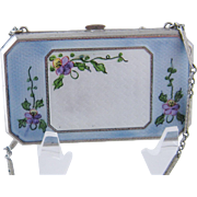 Antique Elgin GF Silver  ENAMEL PANSY Mirror Compact Purse with Chain